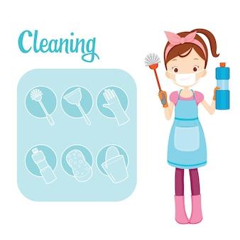 Menina com equipamento de limpeza de banheiro e conjunto de contorno
