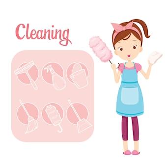 Menina com equipamento de limpeza doméstica e conjunto de ícones de contorno