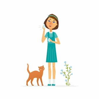 Menina com erupção na pele - ilustração isolada de personagens de desenhos animados no fundo branco. imagem de uma estudante sofrendo de doença de pele ou alergia, segurando um lenço, um gato e uma planta perto