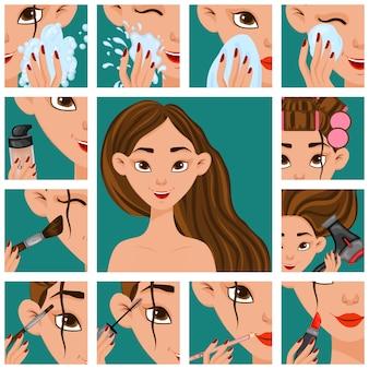 Menina com estágios de procedimentos de beleza.