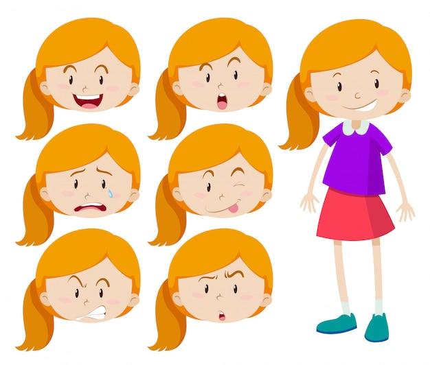 Menina com expressões diferentes