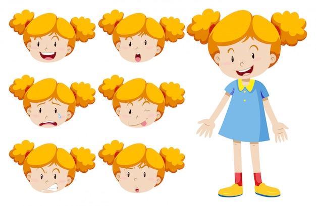 Menina com expressões faciais