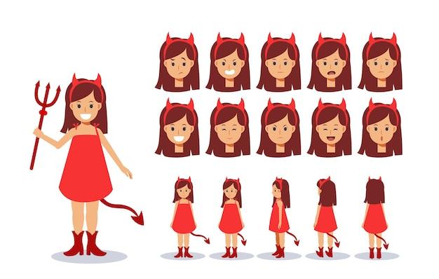 Menina com fantasia de demônio vermelho