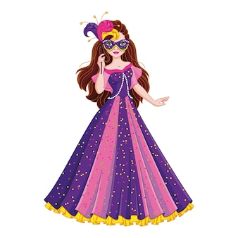 Menina com fantasia de princesa com máscara de baile de máscaras