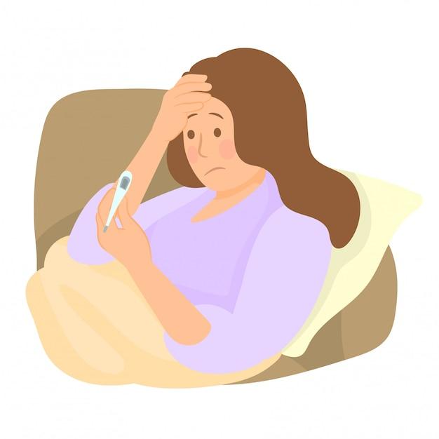 Menina com febre, verificando sua temperatura com um termômetro