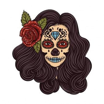 Menina com flor no cabelo do tatuagem do vintage