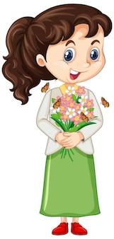 Menina com flores em fundo isolado