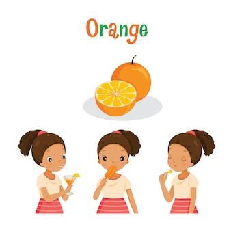Menina com fruta de laranja, suco, sorvete e cartas, frutas tropicais, alimentação saudável