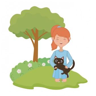 Menina, com, gato, caricatura, desenho