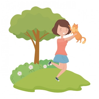 Menina, com, gato, caricatura