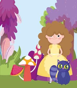 Menina com gato cogumelos grama folhagem de árvores no país das maravilhas