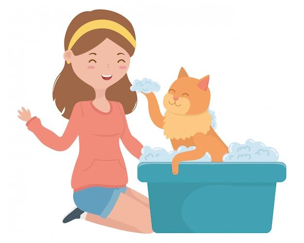 Menina, com, gato, de, caricatura