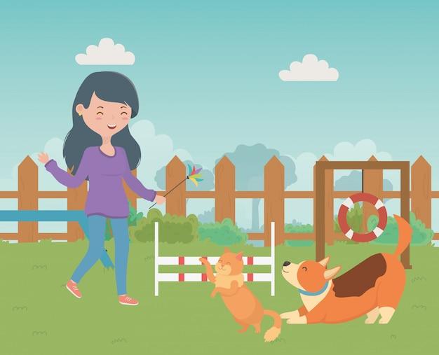 Menina, com, gato, e, cão, caricatura, desenho