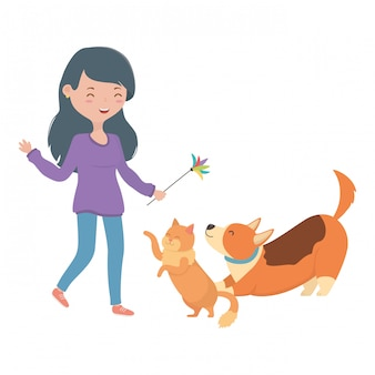 Menina, com, gato, e, cão, de, caricatura