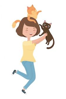 Menina, com, gatos, de, desenhos animados