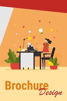 Menina com ideia olhando na máquina de escrever. cadeira, mesa, ilustração em vetor plana história. conceito de imaginação e escrita para banner, design de site ou página de destino
