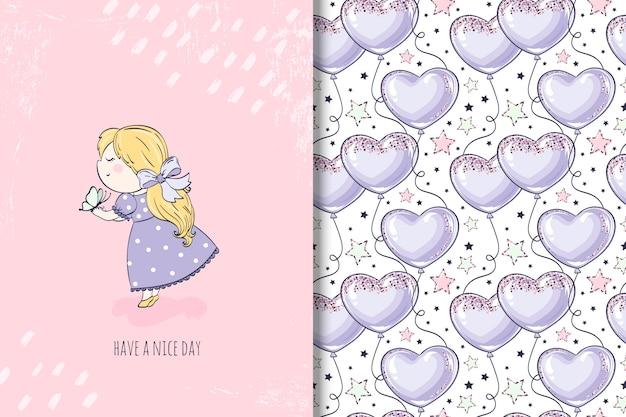 Menina com ilustração de borboleta e padrão sem emenda com balão
