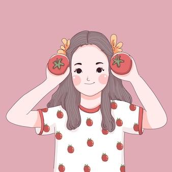 Menina com ilustração de tomate