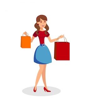 Menina com ilustração vetorial plana de sacos de compras