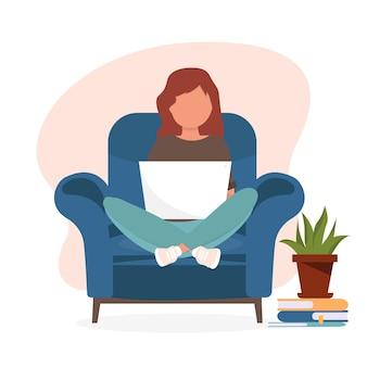 Menina com laptop na cadeira. freelance ou conceito de estudo. ilustração bonita em estilo simples.