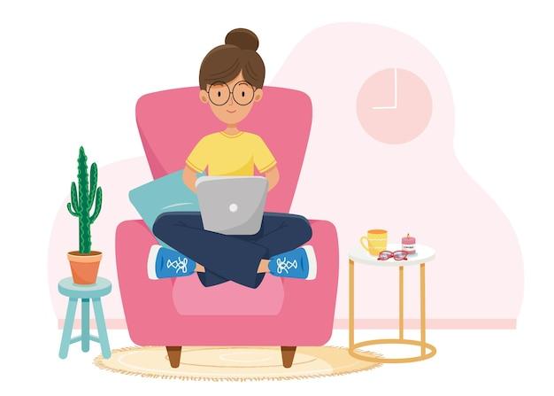 Menina com laptop sentado na cadeira. freelance ou conceito de estudo. ilustração bonita em estilo simples.