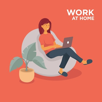 Menina com laptop trabalhando em casa ilustração