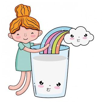 Menina com leite e arco-íris kawaii personagem