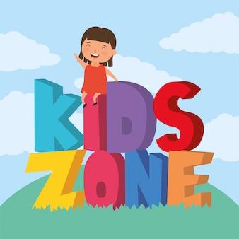 Menina com letras de zona de crianças no campo