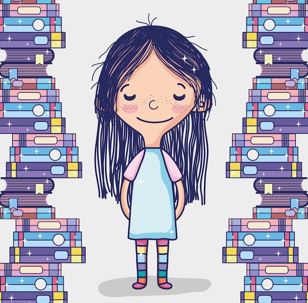 Menina, com, livros, cute, desenhos animados