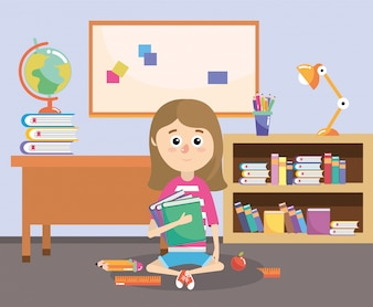 Menina com livros de educação fornece na sala de aula