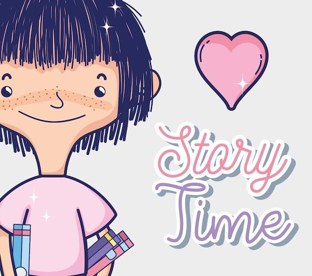 Menina, com, livros, história, tempos