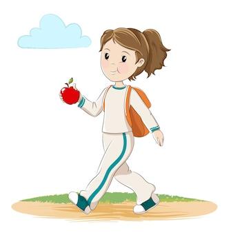 Menina, com, maçã, e, mochila, andar