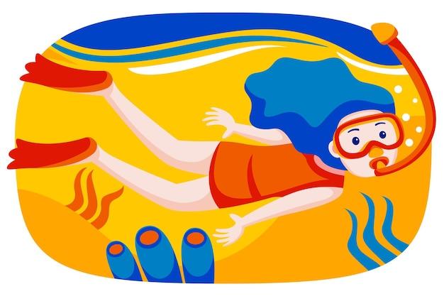 Menina com máscara de mergulho, mergulho subaquático com peixes tropicais na piscina do mar de recife de coral.