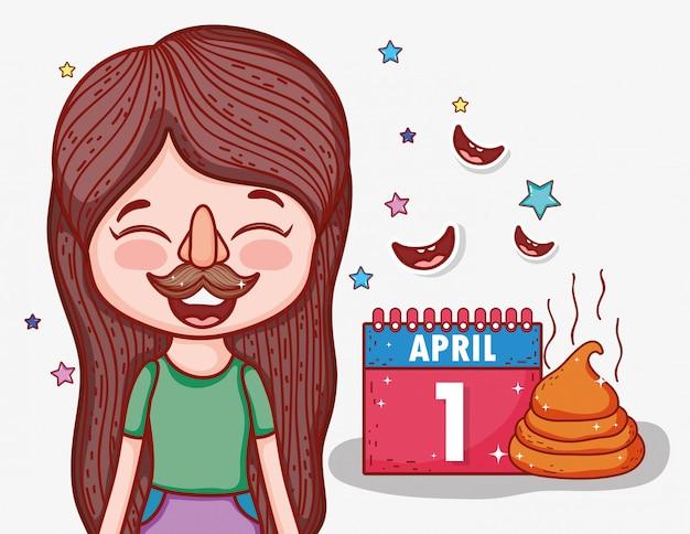 Menina com máscara engraçada para dia de tolos de abril