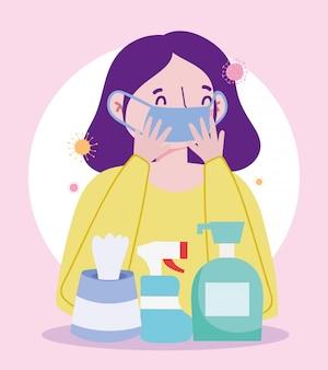 Menina com máscara médica e gel desinfetante para as mãos, sabonete líquido, papel de seda, prevenção pandêmica de coronavírus 19