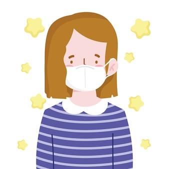 Menina com máscara protetora personagem de desenho animado novo normal