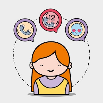 Menina com mensagem de ícones de chamadas telefônicas
