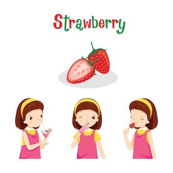 Menina com morango, suco, sorvete e cartas, frutas tropicais, alimentação saudável