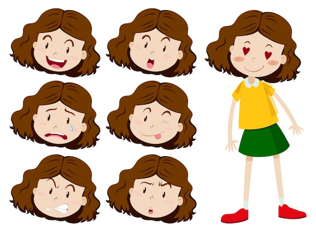 Menina com muitas ilustrações de expressões faciais