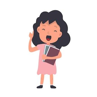 Menina com ondas de livros. uma colegial satisfeita. adequado para design na escola ou nas férias. isolado. vetor.