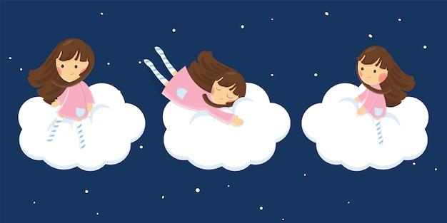 Menina com ovelhas no céu escuro