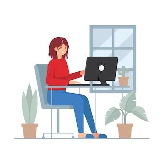 Menina com pc trabalhando em casa ilustração