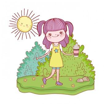 Menina com personagens de kawaii sol