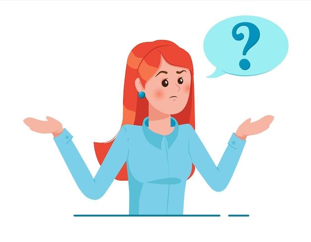 Menina com ponto de interrogação no balão de pensamento. mulher jovem com problemas. pessoas pensando ou resolvendo problemas.