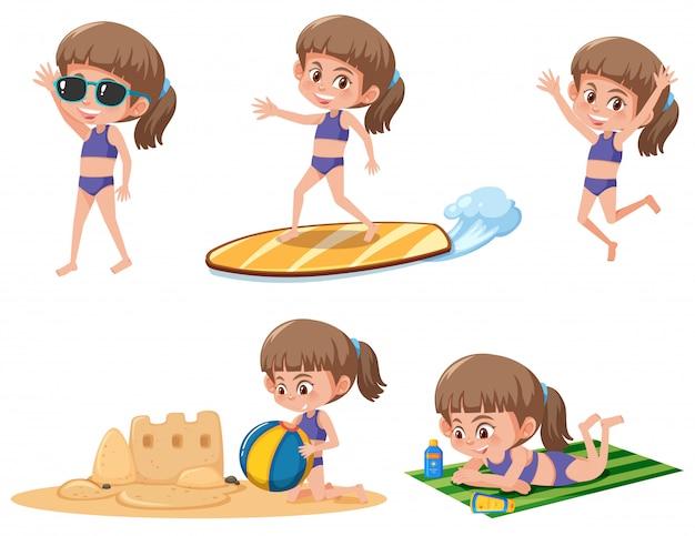 Menina, com, praia, atividade