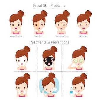 Menina com problemas no rosto e método de tratamento e prevenção