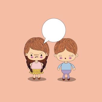 Menina com raiva tranças cabelo com caixa de diálogo e menino preocupado
