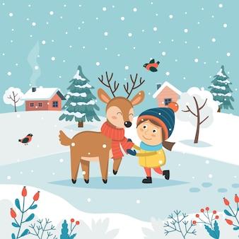 Menina com renas e paisagem de inverno bonito.
