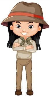 Menina com roupa de safari em branco