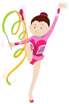 Menina com roupa rosa fazendo ginástica